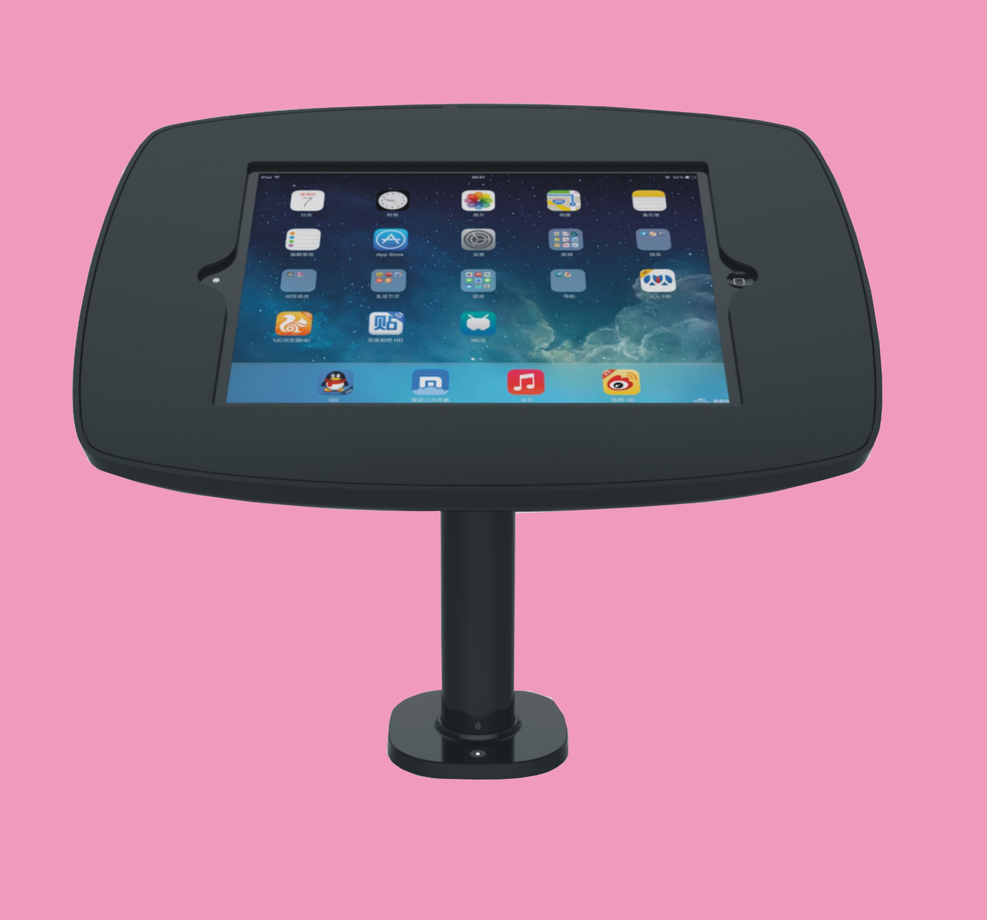 Desk Pole Black Front Pink by pos-security.net.jpg#